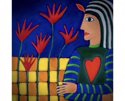 Employer Emotion Scan schilderij van vrouw met hart